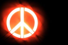 Illustration stylized peace symbol on black background Royalty Free Stock Images