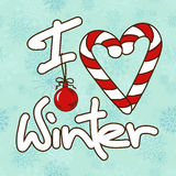 Illustration with stylized text I Love Winter Stock Images