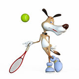 Illustration on a subject a dog the tennis player. Before the championship Stock Photos