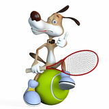 Illustration on a subject a dog the tennis player. Before the championship Royalty Free Stock Photography