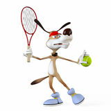 Illustration on a subject a dog the tennis player. Stock Photo