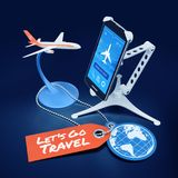 Booking Flight Via Mobile App. Illustration on the subject of `Travel and Tourism`. 3D rendering blue-toned graphics on reflective background Royalty Free Stock Photo