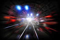 Illustration of subway tunnel with lights Royalty Free Stock Photo