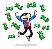 Illustration of success businessman. Get earn money Stock Photos