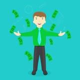 Illustration of success businessman standing under falling Stock Image
