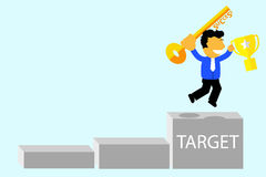 Illustration, success to reach a target Stock Photography