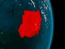 Sudan at night. Illustration of Sudan as seen from Earth's orbit at night. 3D illustration. Elements of this image furnished by NASA Stock Photo