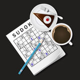 Illustration of Sudoku game, mug of coffee and chocolate cake Royalty Free Stock Photography