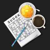Illustration of Sudoku game, mug of coffee and pancake Royalty Free Stock Image