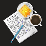 Illustration of Sudoku game, mug of coffee and waffle Royalty Free Stock Photos