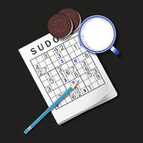 Illustration of Sudoku game, mug of milk and chocolate cookies Royalty Free Stock Photography