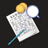 Illustration of Sudoku game, mug of milk and cookies Stock Images