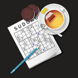 Illustration of Sudoku game, mug of tea and cookies Royalty Free Stock Photo