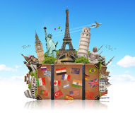 Illustration of a suitcase full of famous monument Royalty Free Stock Photo