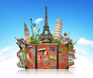 Illustration of a suitcase full of famous monument Stock Photos
