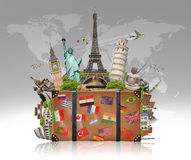 Illustration of a suitcase full of famous monument Royalty Free Stock Images