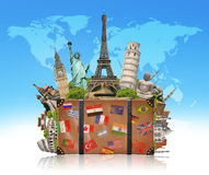 Illustration of a suitcase full of famous monument Stock Image