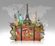 Illustration of a suitcase full of famous monument Royalty Free Stock Photography