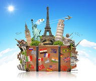 Illustration of a suitcase full of famous monument Royalty Free Stock Photos