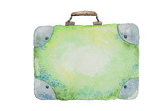 Illustration of a suitcase green for travel painted watercolor Stock Photos