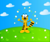 Summer background with a funny cartoon tiger cub Stock Photos