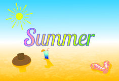 Illustration summer, beach. Summer accessories Royalty Free Stock Images