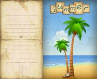 Illustration of summer beach with palms Royalty Free Stock Photography
