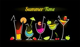 Illustration of summer composition with cocktails. Illustration of dark summer composition with cocktails Stock Photos