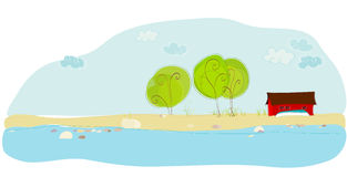 Illustration of summer cottage Stock Images