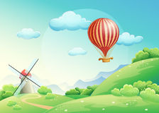 Illustration of summer fields with a mill and a balloon in the s. Ky Stock Image