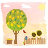 Illustration with summer garden with lemon tree Royalty Free Stock Photography