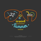 Illustration Summer holiday. The original poster summer holiday. Advertising travel on vacation to the sea. Vector illustration on black background Royalty Free Stock Images