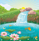 Illustration of summer landscape with lake and waterfall. Vector illustration of summer landscape with lake, waterfall and jumping out of the water fish Stock Photos