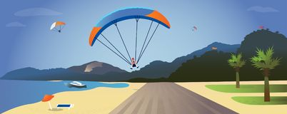 Illustration of a summer landscape with mountains, sea, beach, umbrella, palm trees and paragliding falling on the seaside stock illustration