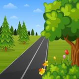 Summer landscape with trees and road Vector Illustration