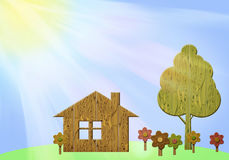 Illustration of summer landscape with wooden figurines Stock Photo