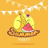 Illustration of Summer Party poster cartoon design with cute banana and watermelon characters, Childrens postcard, Healthy Lifesty. Illustration of Summer Party Stock Photography