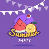 Illustration of Summer Party poster cartoon design with cute orange and watermelon characters, Childrens postcard, Healthy Lifesty. Illustration of Summer Party Royalty Free Stock Photos