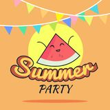Illustration of Summer Party poster cartoon design with cute watermelon characters, Childrens postcard, Healthy Lifestyle. Illustration of Summer Party poster Royalty Free Stock Photos