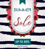 Summer sale background with tropical flowers. Up to 50%. Illustration  of Summer sale background with tropical flowers. Up to 50 Stock Photography