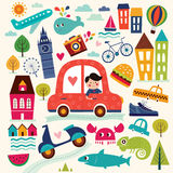 Illustration with summer symbols. Summer travel. Stock Photo
