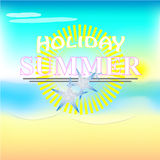 Illustration of summer text with beach Royalty Free Stock Photo