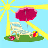 Illustration of summer vacation - beach chair, umbrella, slippers, ball Stock Image