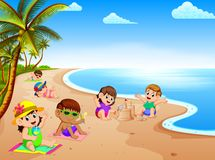 The summer vacation in the beach with the children relax and playing near the beach. Illustration of the summer vacation in the beach with the children relax and vector illustration