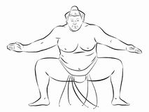 Illustration of sumo wrestler, vector draw Royalty Free Stock Images