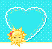 Illustration of the sun and heart. Vector card with the sun and heart image Stock Photography