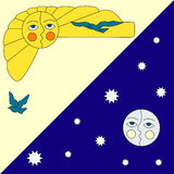 Illustration of sun and moon. Vector illustration of sun and moon Royalty Free Stock Photos