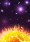 Illustration of the sun with rays in space with stars Stock Photo