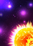 Illustration of the sun with rays in space with stars Royalty Free Stock Photography