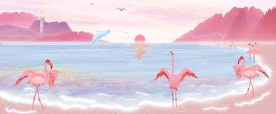 Illustration of the sun rises from the sea, and the flamingos and blue whales play on the beaches of the island of Hawaii. What a beautiful and fascinating royalty free illustration